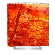 Golden Mountain Lake Morning  Shower Curtain