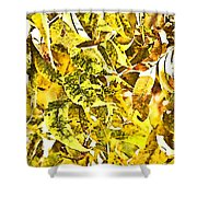 Golden Pecan Leaves Abstract Shower Curtain