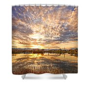 Golden Ponds Scenic Sunset Reflections 2 Shower Curtain