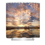 Golden Ponds Scenic Sunset Reflections 3 Shower Curtain