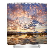 Golden Ponds Scenic Sunset Reflections 4 Shower Curtain