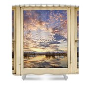 Golden Ponds Scenic Sunset Reflections 4 Yellow Window View Shower Curtain