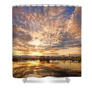 Golden Ponds Scenic Sunset Reflections 5 Shower Curtain