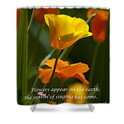 Golden Poppy Floral  Bible Verse Photography Shower Curtain