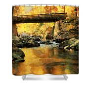 Golden Reflection Autumn Bridge Shower Curtain