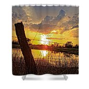 Golden Reflection With A Fence Shower Curtain by Robert D  Brozek