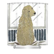 Golden Retriever Art Hand-torn Newspaper Collage Art Shower Curtain