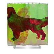 Golden Retriever Watercolor Shower Curtain by Naxart Studio