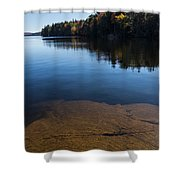 Golden Ripples Bedrock - Fall Reflection Tranquility Shower Curtain