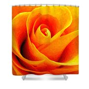 Golden Rose - Digital Painting Effect Shower Curtain