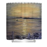 Golden Sea View Shower Curtain