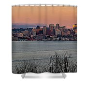 Golden Seattle Skyline Sunset Shower Curtain