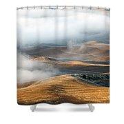 Golden Shadows Shower Curtain by Mike  Dawson