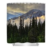 Golden Shawl On The Mountain Shower Curtain