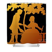 Golden Silhouette Garden Proposal Will You Marry Me Shower Curtain