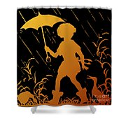Golden Silhouette Of Child And Geese Walking In The Rain Shower Curtain
