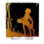 Golden Silhouette Of Child With Basket Walking In The Woods Shower Curtain