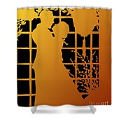 Golden Silhouette Of Couple Embracing Shower Curtain