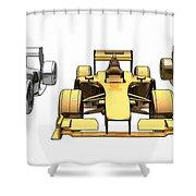 Golden Silver Bronze Race Car Color Sketch Shower Curtain