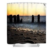 Golden Sky Whitefish Point Michigan Shower Curtain