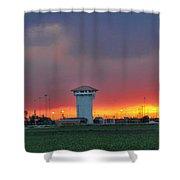 Golden Spike Sunset Panorama Shower Curtain