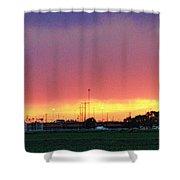 Golden Spike Sunset Shower Curtain