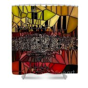 Golden Stained Abstract Shower Curtain
