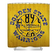 Golden State Warriors Basketball Team Retro Logo Vintage Recycled California License Plate Art Shower Curtain