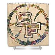 Golden State Warriors Poster Art Shower Curtain