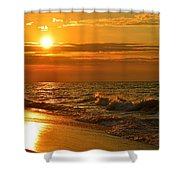 Golden Sunrise Colors With Waves And Horizon Clouds On Navarre Beach Shower Curtain