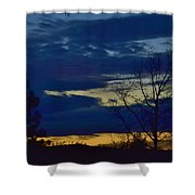 Golden Sunrise Into The Blue Shower Curtain