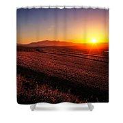 Golden Sunrise Over Farmland Shower Curtain