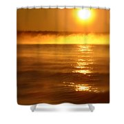 Golden Sunrise Over The Water Shower Curtain