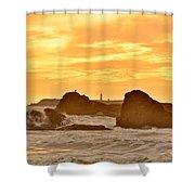 Golden Sunset At Ruby Beach Shower Curtain