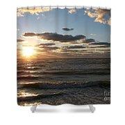 Golden Sunset  Clouds Shower Curtain