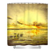 Golden Sunset Shower Curtain