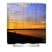 Golden Sunset On The Harbor Shower Curtain