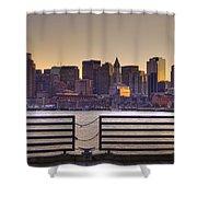 Golden Sunset Over Boston Shower Curtain