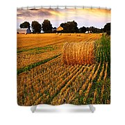 Golden Sunset Over Farm Field With Hay Bales Shower Curtain