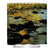 Golden View Of The Little River In Autumn Shower Curtain by Dan Sproul