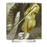 Golden Violin Shower Curtain
