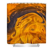 Golden Waves Of Blue Shower Curtain