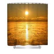 Golden Winter Shower Curtain