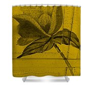 Golden Wood Flower Shower Curtain