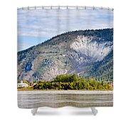 Goldrush Town Dawson City From Yukon River Canada Shower Curtain