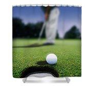 Golf Ball Near Cup Shower Curtain