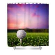 Golf Ball On Tee At Sunset Shower Curtain