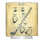 Golf Club Patent Drawing From 1910 - Vintage Shower Curtain