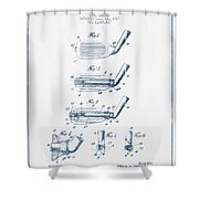 Golf Club Patent Drawing From 1917 - Blue Ink Shower Curtain