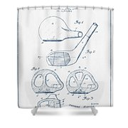 Golf Club Patent Drawing From 1926 - Blue Ink Shower Curtain